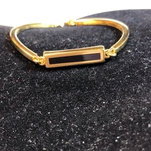 Vintage Monet GoldTone Bracelet with Black Enlay